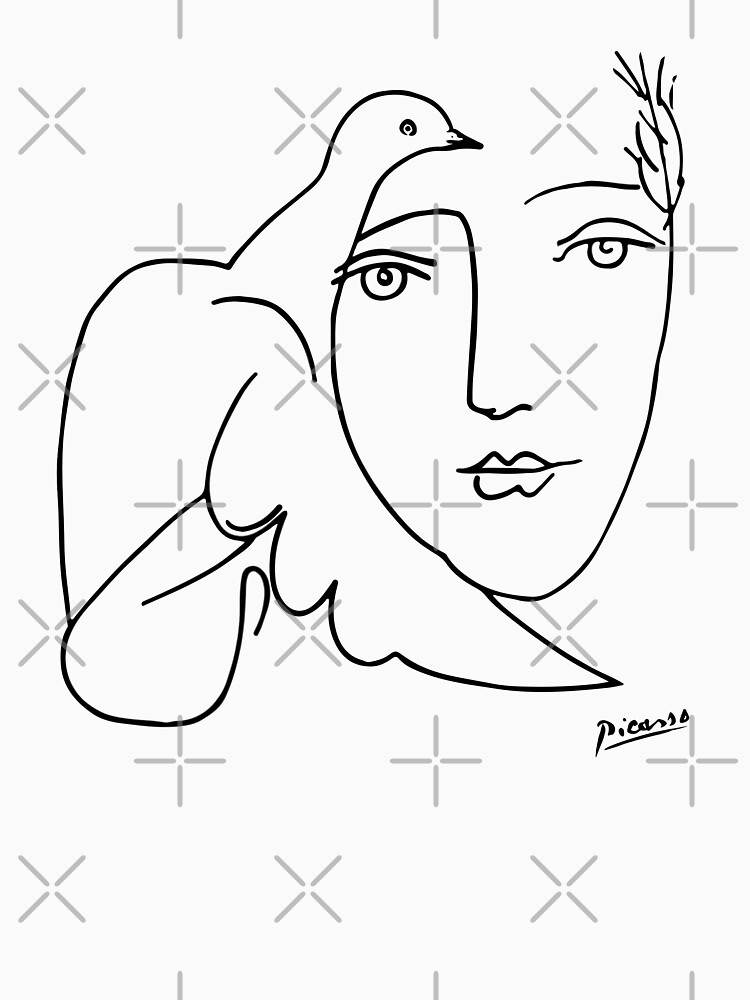 Pablo Picasso Line Art woman and peace dove Artwork Sketch black and white Hand Drawn ink Silhouette Beige Background HD High Quality by iresist