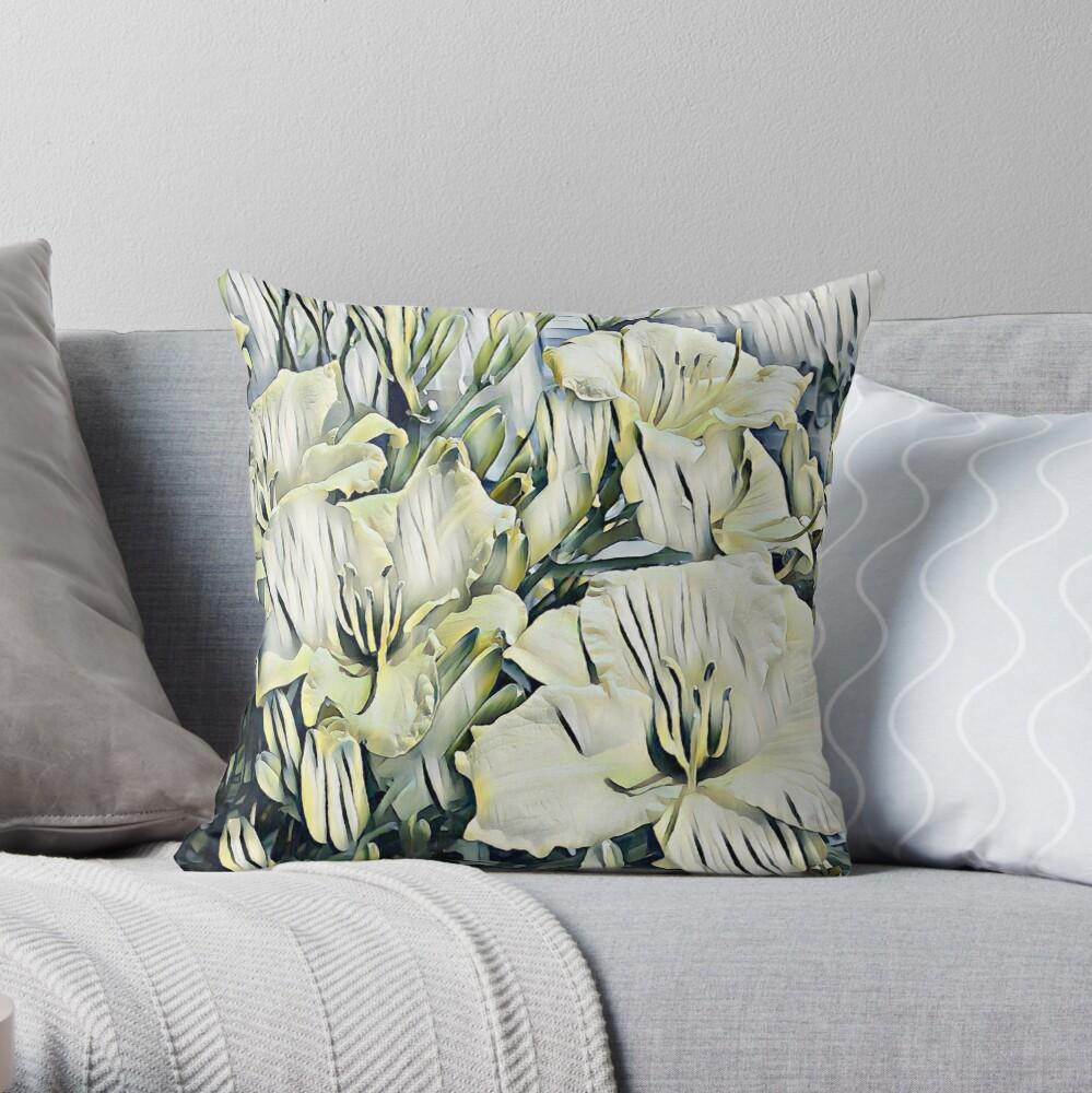 Paper Tiger Lilies Throw Pillow