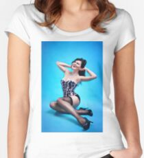 Retro Pin up Girl  Women's Fitted Scoop T-Shirt