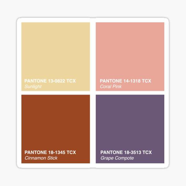 Pantone 2020 Color Palette Pt. 3 - Sunlight - Coral Pink - Cinnamon Stick - Grape Compote Sticker