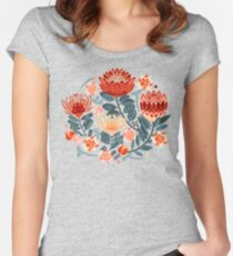 Protea Chintz - Mustard Fitted Scoop T-Shirt