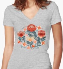 Protea Chintz - Mustard Fitted V-Neck T-Shirt