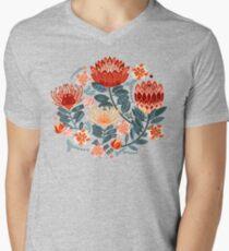 Protea Chintz - Mustard V-Neck T-Shirt