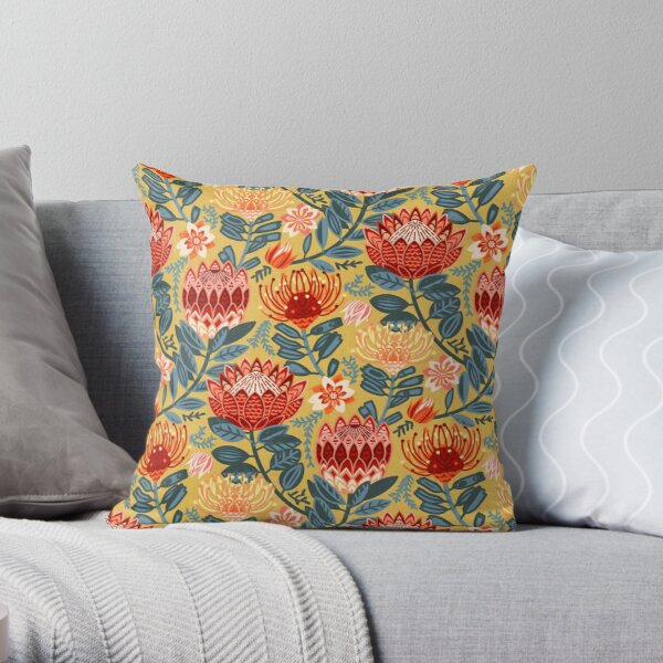 Protea Chintz - Mustard Throw Pillow