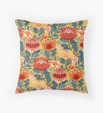 Protea Chintz - Mustard Throw Pillow
