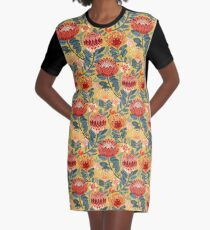 Protea Chintz - Mustard Graphic T-Shirt Dress