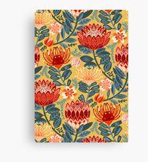 Protea Chintz - Mustard Canvas Print