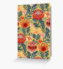 Protea Chintz - Mustard Greeting Card