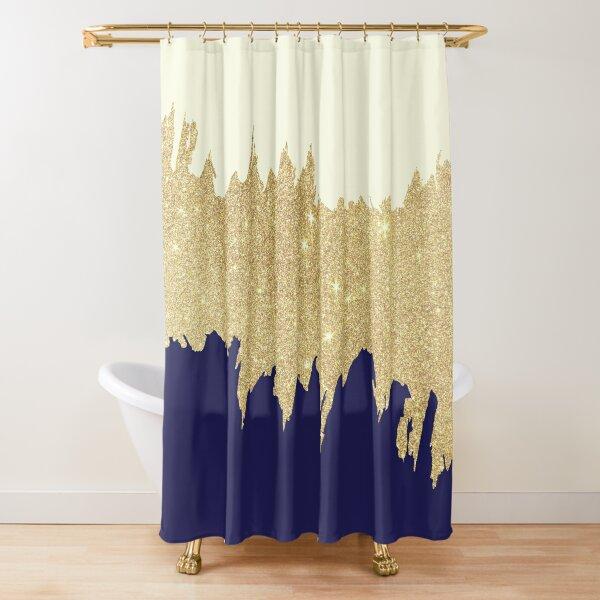 Navy blue ivory faux gold glitter brushstrokes  Shower Curtain