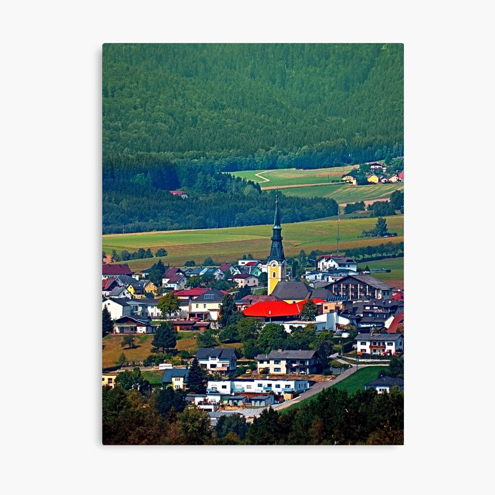 The village, the forest and the mountains Canvas Print