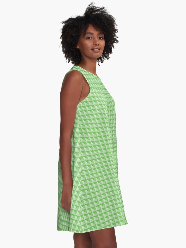 Alternate view of Geometric Pattern: Pyramid: Green Light A-Line Dress