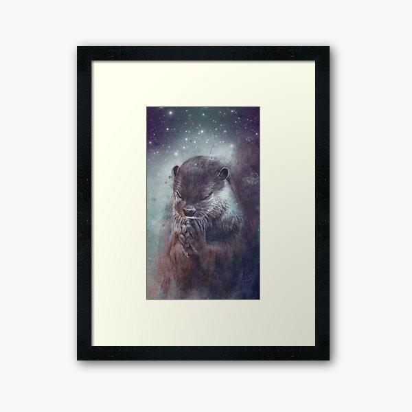 Holy Otter in space Gerahmter Kunstdruck
