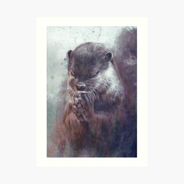 Meditating otter Art Print