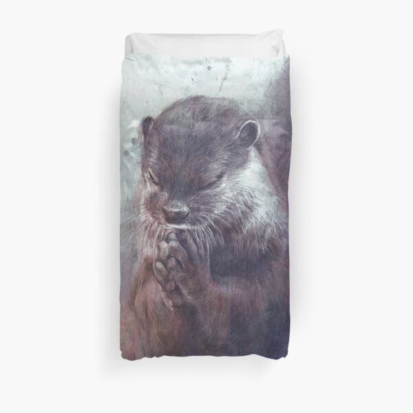 Meditating otter Duvet Cover