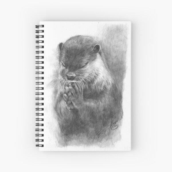 Meditating otter (black - and white) Spiral Notebook