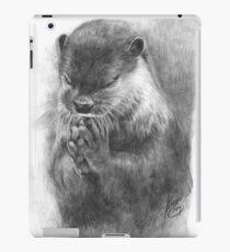 Meditierender Otter (schwarz-weiß) iPad-Hülle & Klebefolie