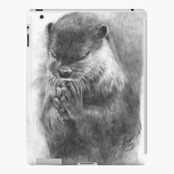 Meditating otter (black - and white) iPad Snap Case