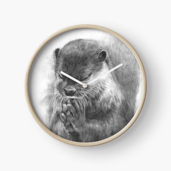 Meditating otter (black - and white) Clock