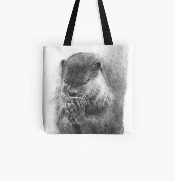 Meditating otter (black - and white) All Over Print Tote Bag