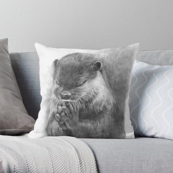 Meditating otter (black - and white) Throw Pillow