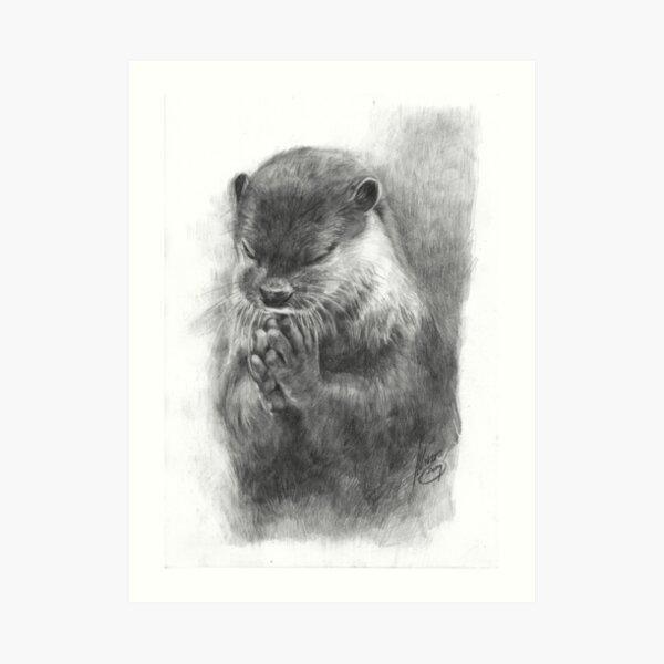 Meditating otter (black - and white) Art Print