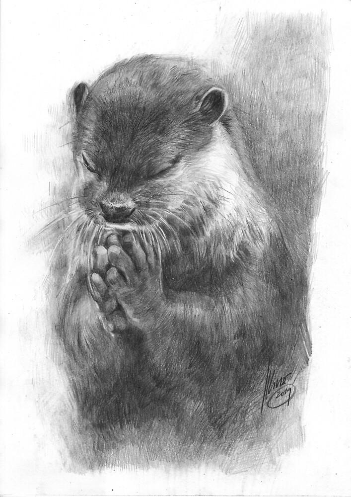 Meditierender Otter (schwarz-weiß) von Daniela  Illing