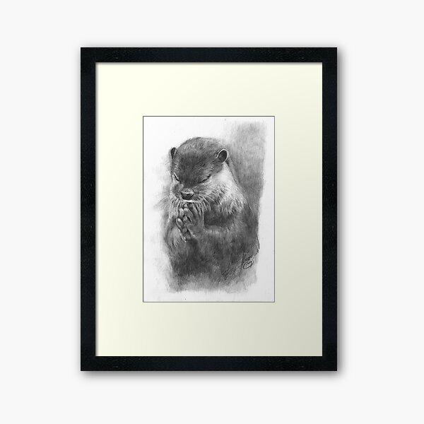 Meditierender Otter (schwarz-weiß) Gerahmter Kunstdruck