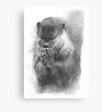 Meditierender Otter (schwarz-weiß) Metallbild
