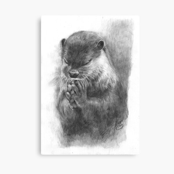 Meditating otter (black - and white) Canvas Print