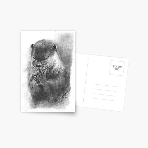 Meditating otter (black - and white) Postcard