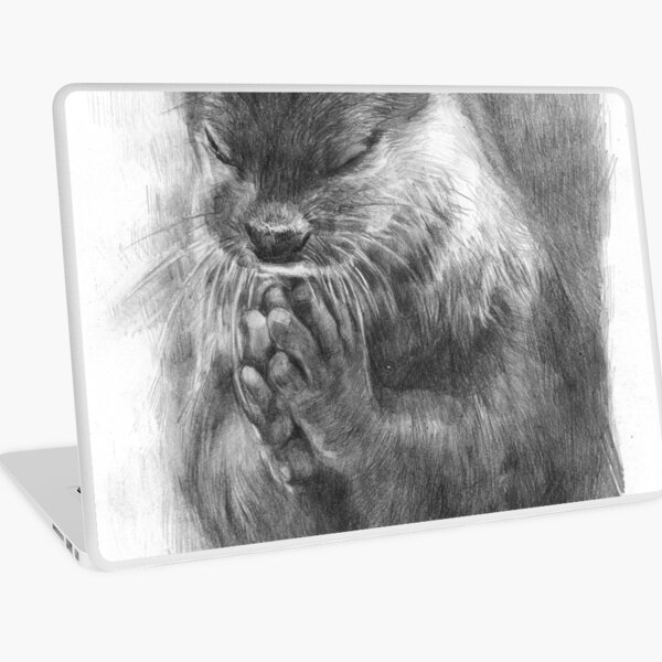 Meditating otter (black - and white) Laptop Skin