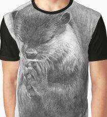 Meditierender Otter (schwarz-weiß) Grafik T-Shirt