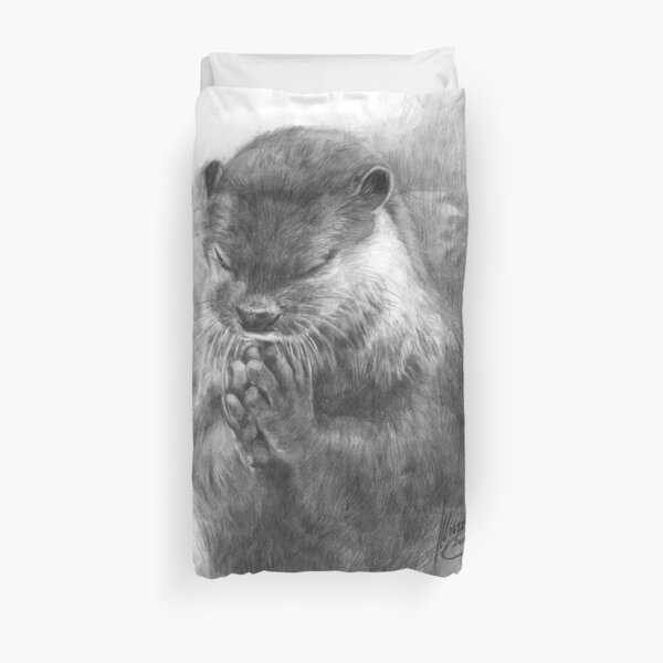 Meditating otter (black - and white) Duvet Cover