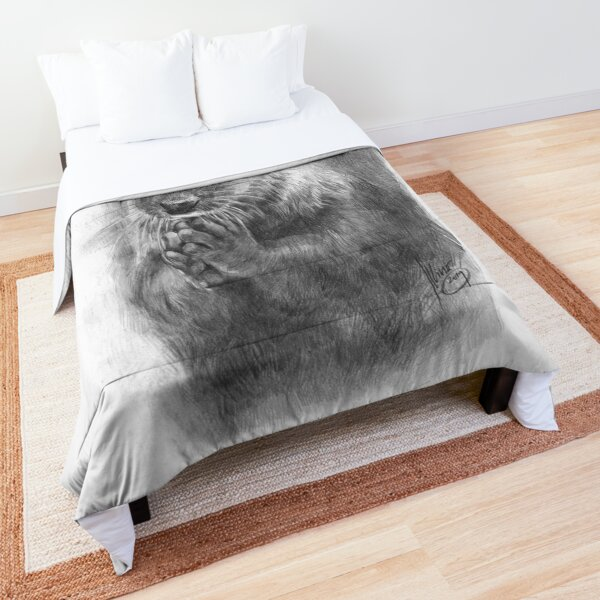 Meditating otter (black - and white) Comforter