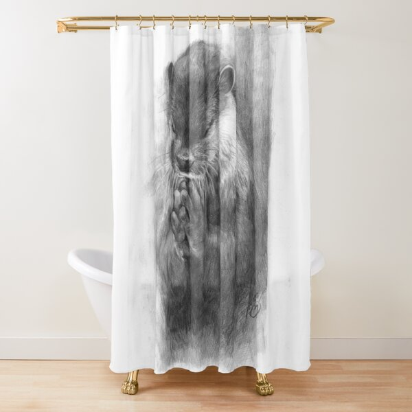 Meditating otter (black - and white) Shower Curtain