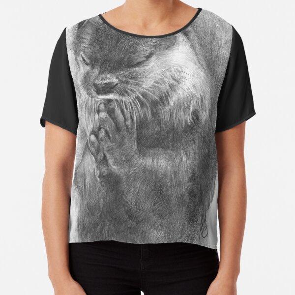 Meditierender Otter (schwarz-weiß) Chiffon Top