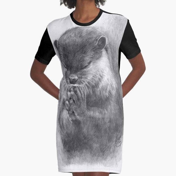 Meditating otter (black - and white) Graphic T-Shirt Dress