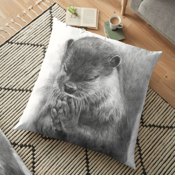 Meditating otter (black - and white) Floor Pillow