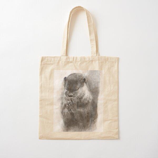 Meditating otter (black - and white) Cotton Tote Bag
