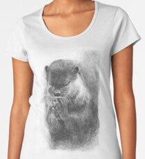 Meditierender Otter (schwarz-weiß) Premium Rundhals-Shirt