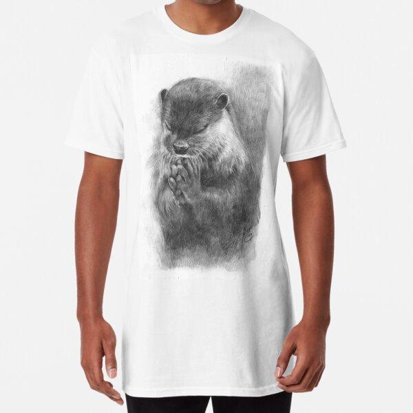 Meditating otter (black - and white) Long T-Shirt