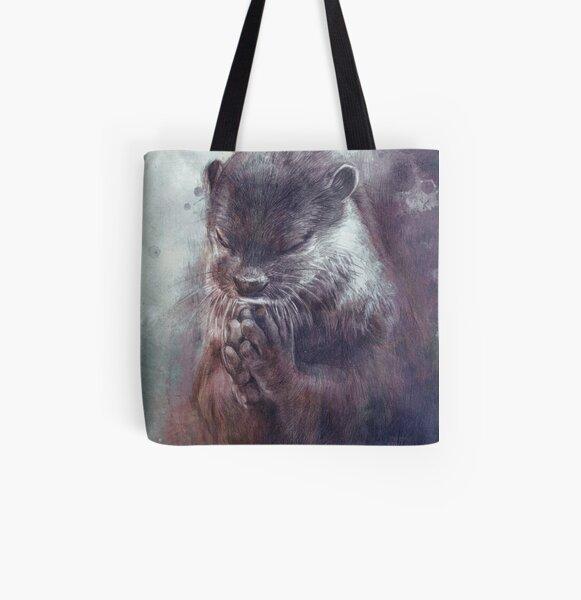 Meditating otter All Over Print Tote Bag