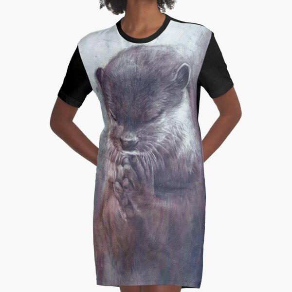 Meditating otter Graphic T-Shirt Dress
