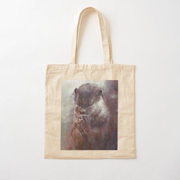 Meditating otter Cotton Tote Bag