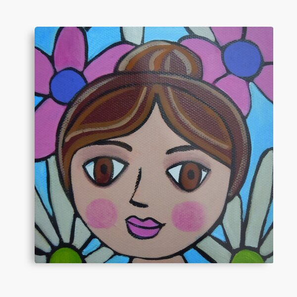 Pink and Blue Pops of Spring Metal Print