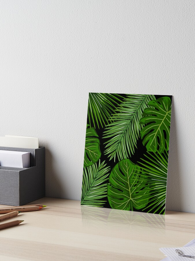 Tropical Leaves On Black Background Art Board Print By Onethreesix Redbubble Choose from 670+ tropical leaf graphic resources and download in the form of png, eps, ai or psd. redbubble
