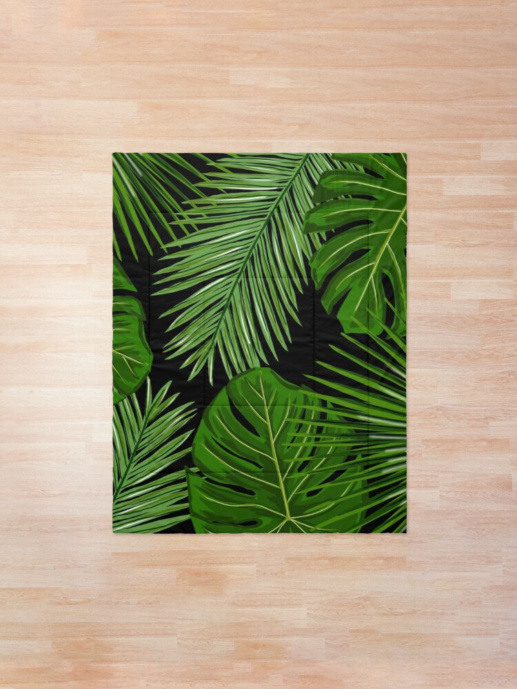 Tropical Leaves On Black Background Comforter By Onethreesix Redbubble 8,234 transparent png illustrations and cipart matching tropical. redbubble