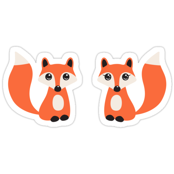 """Cute fox stickers, cartoon illustration of a boy and girl ..."