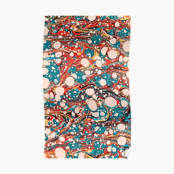 Psychedelic Marbled Paper Splash Blob Pepe Psyche Poster