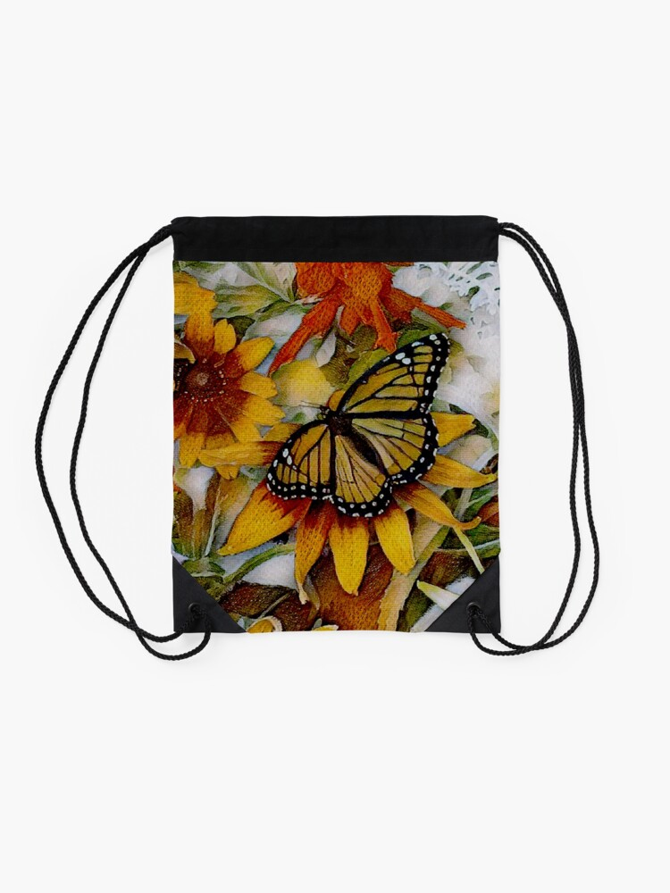 Alternate view of Art Show Monarch Drawstring Bag